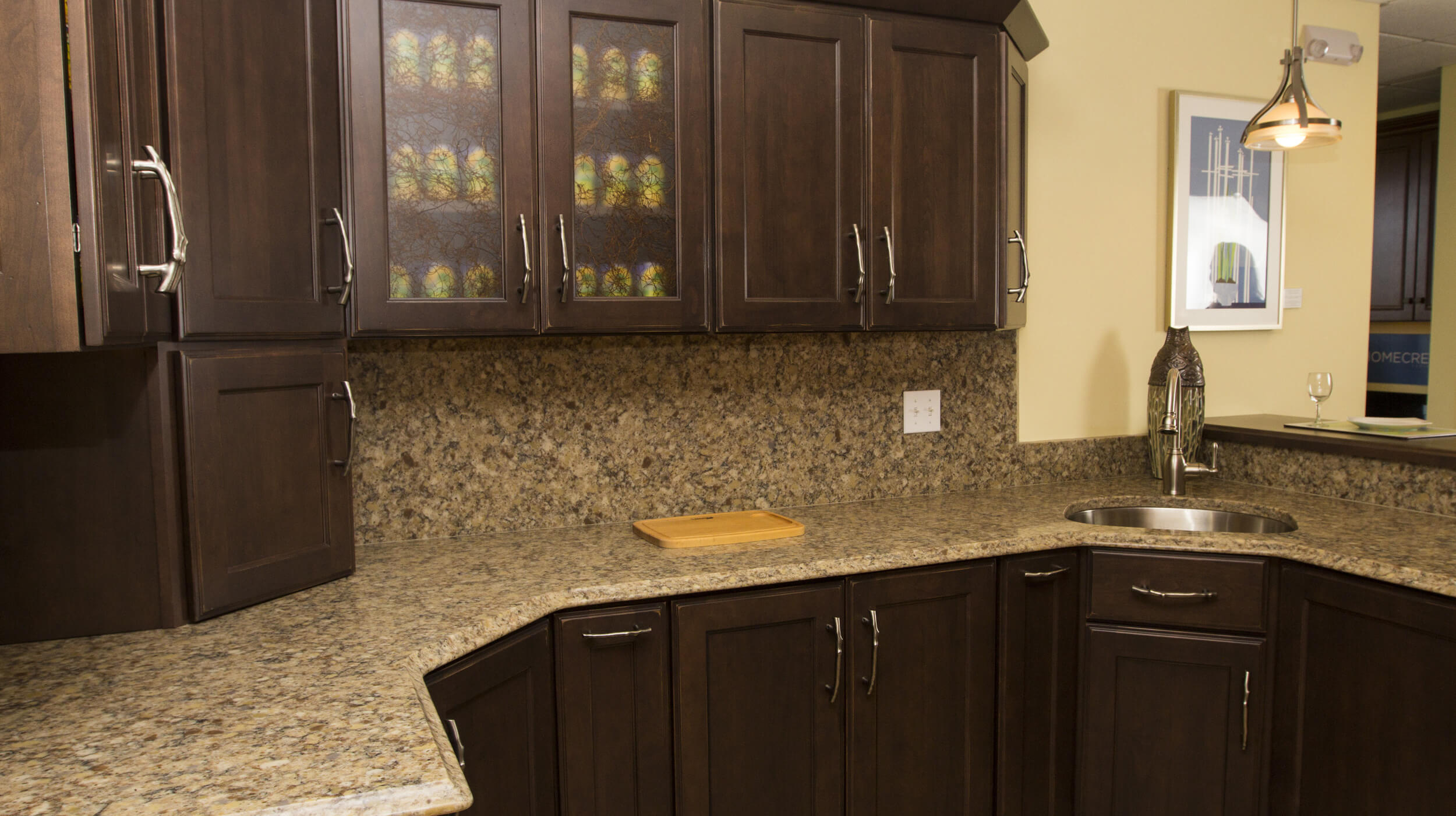 Granite countertop and backsplash