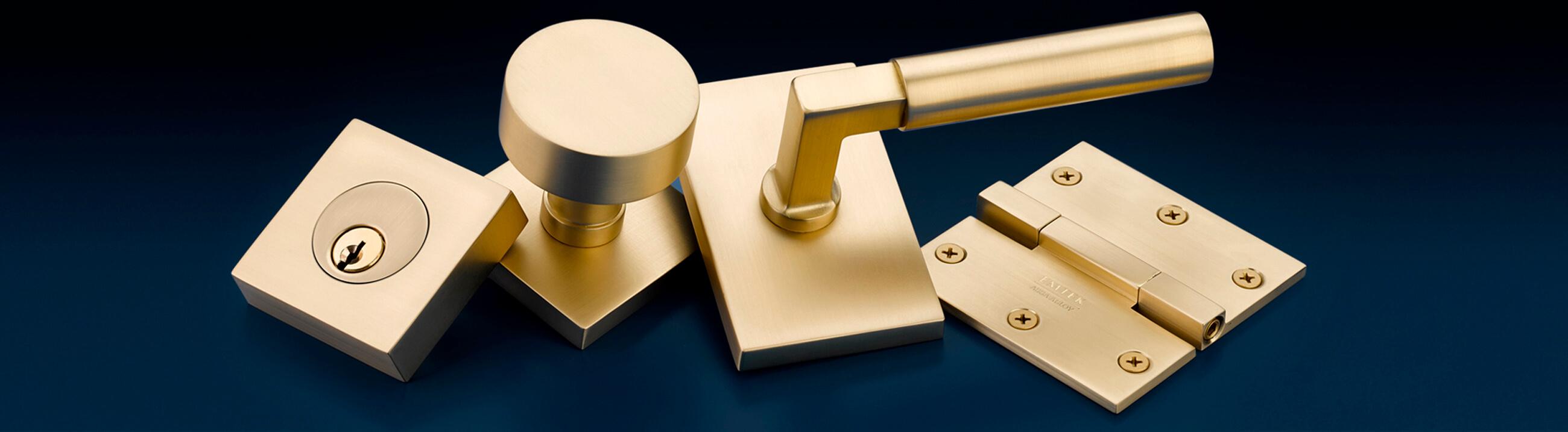 Emtek satin-brass finish hardware