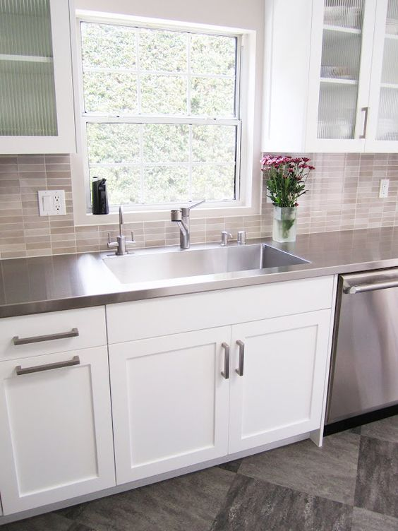 white kitchen cabinets stainless steel countertops countertop trends for kitchens and bathrooms friel 28932
